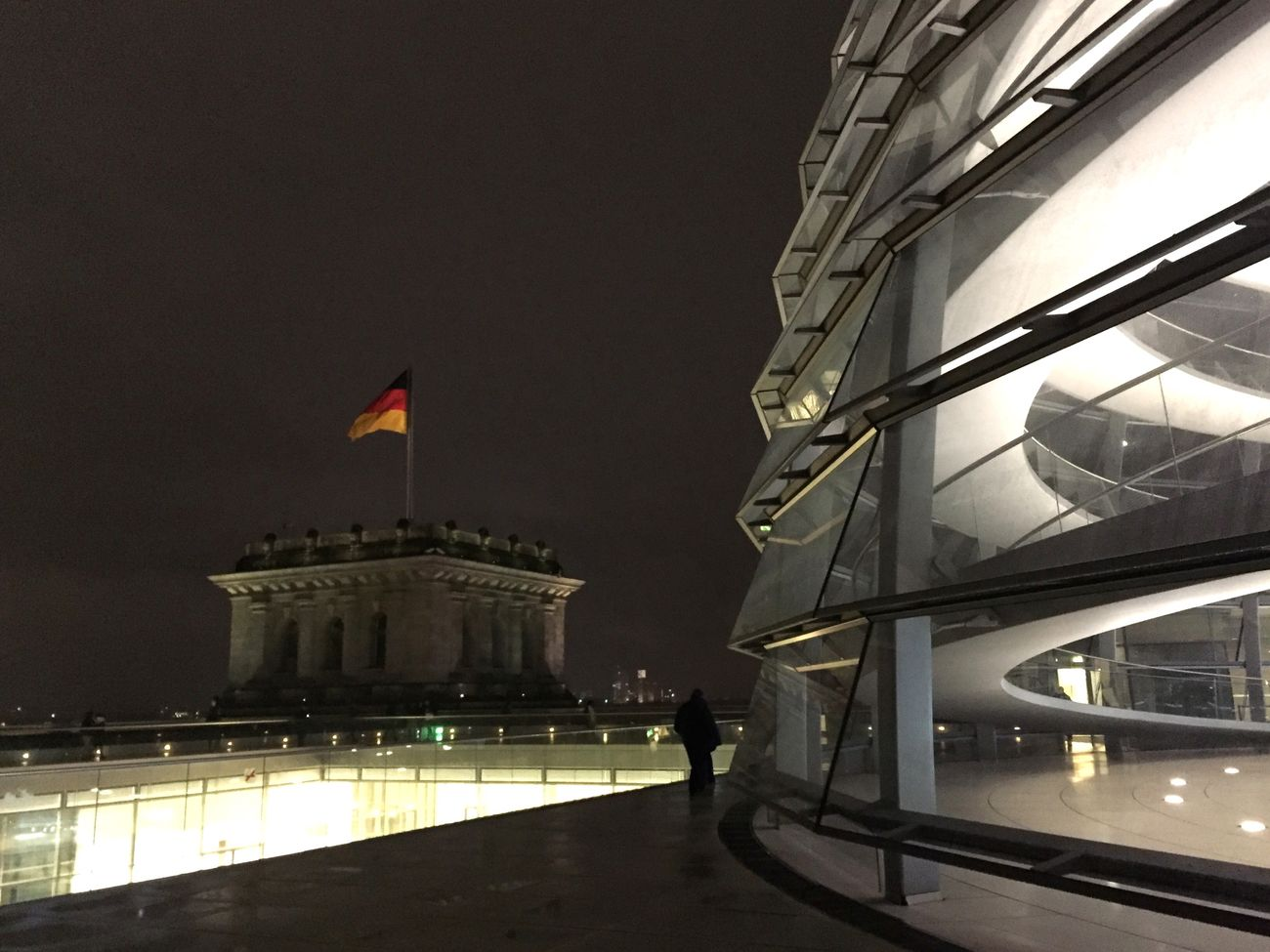 Berlin Reichstag Inside The Dome Travel Destinations Tourism City Night German Flag