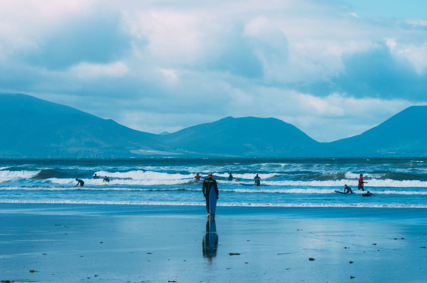 Beauty In Nature Cloud - Sky Ireland Landscape Mountain Mountain Range Ocean Outdoors People Scenics Sea Sky Sky And Clouds Surf Surf Bay Surfers Wave