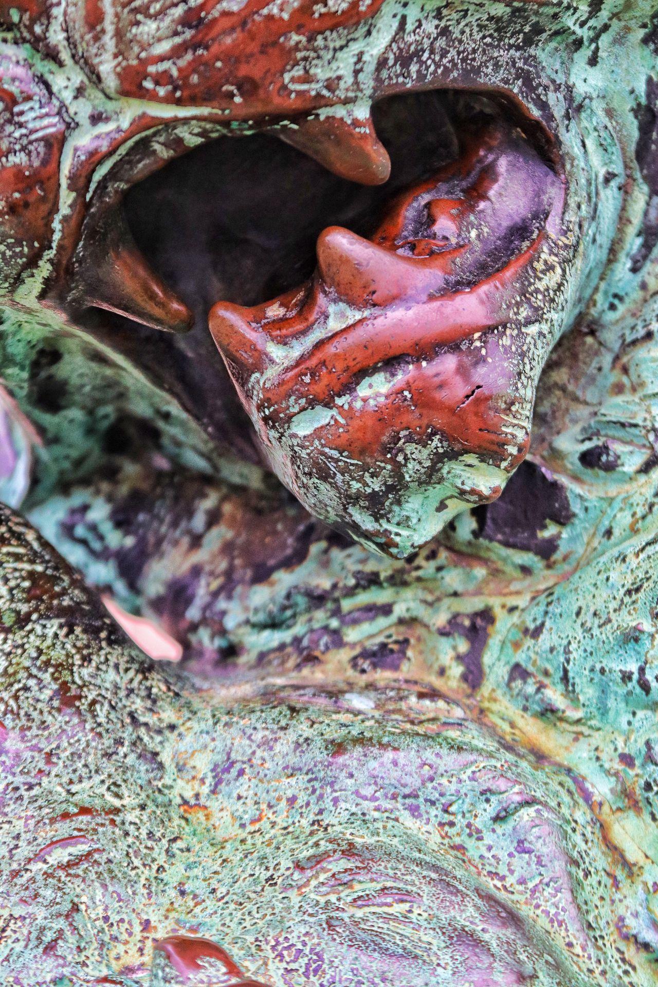 Fangs Teeth Lion Sculpture Sculpture Copper Art Copper  Elements Of Nature Degradation Erosion Effects Eroded
