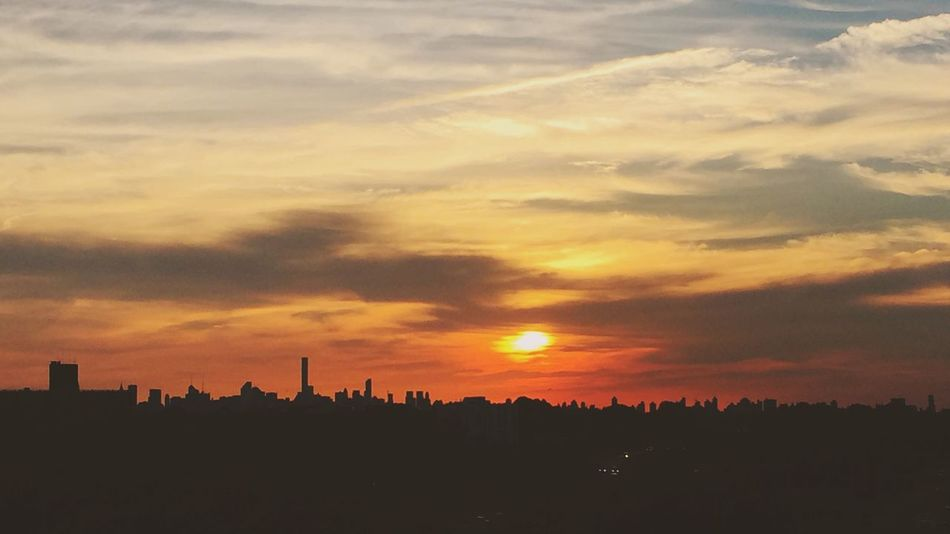 Sunset Silhouette City Sun Architecture Cityscape Built Structure Scenics Orange Color Building Exterior Dark Beauty In Nature Cloud - Sky Outline Crowded Urban Skyline Tranquil Scene Tranquility Sky Skyline