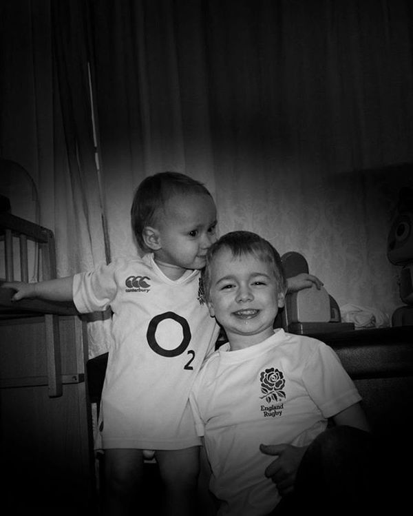 The boys all ready for the England vs Scotland game Rbs6nations Englandrugby 6nations Sons LoveThemBoth LoveThem  Rbssixnations2016 Photography Lifethroughalens Lovephotography  Weekendwithdaddy Blackandwhitephotography Blackandwhite Rugby