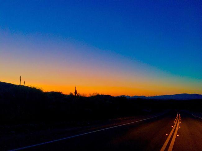 Desert Sunset Arizona Vulture Peak Wickenburg Yellow Lines In The Road Sunset Silhouettes