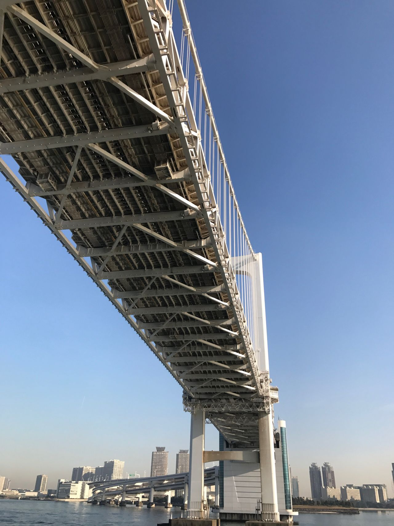 Architecture City Built Structure Clear Sky Bridge - Man Made Structure Low Angle View Building Exterior Outdoors Sky Blue Transportation Engineering Travel Destinations Connection Skyscraper Day No People Suspension Bridge Cityscape Tokyo Underthebridge Finding New Frontiers Tokyo Bay Tokyo Rainbow Bridge Rainbow Bridge