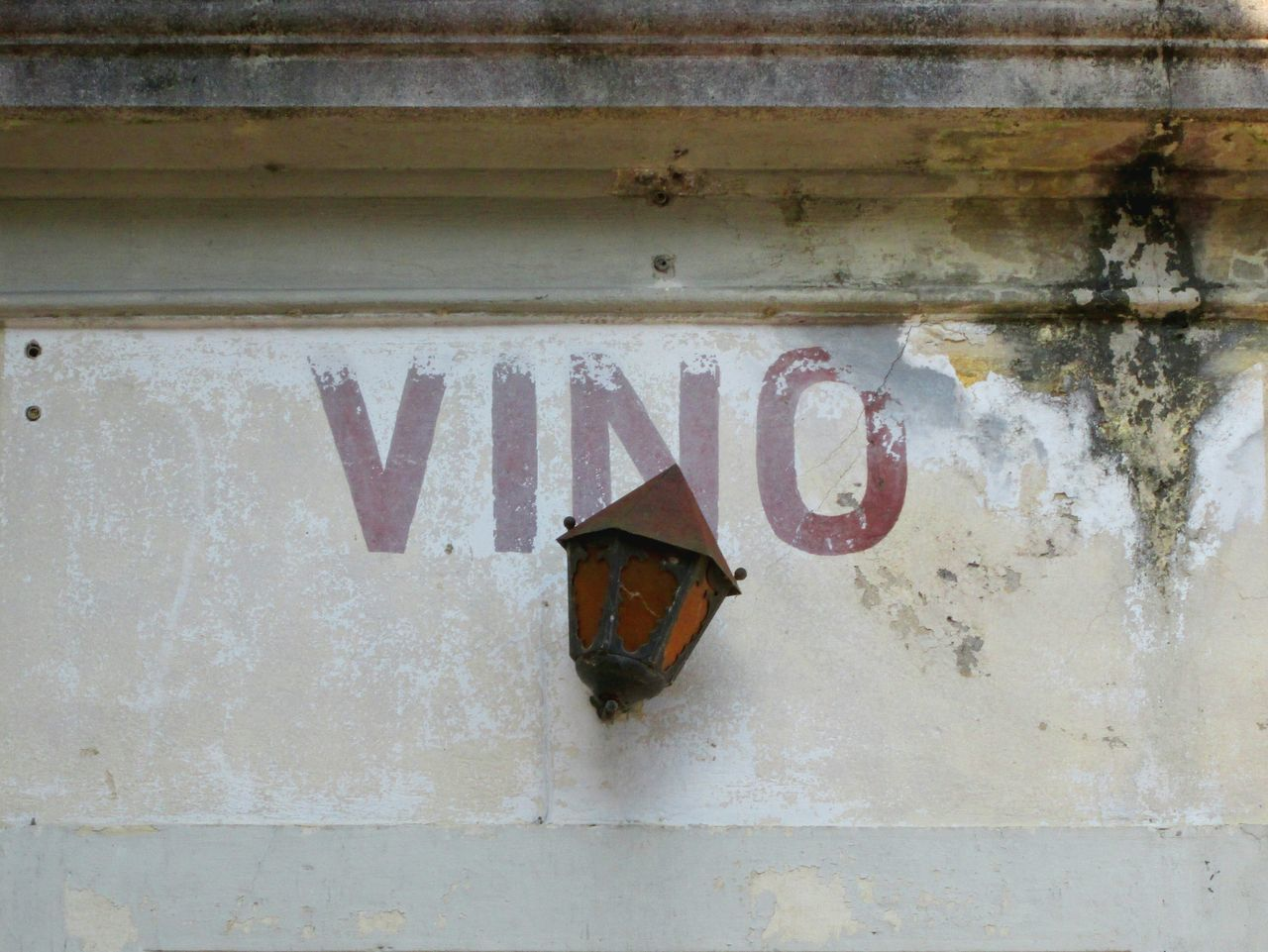 Wine Sign Italian Vino Sign Lantern Mold Mould Cracked Wall Weathered Wall Scratched Plaster Old Signs Concrete Wall Multicolors