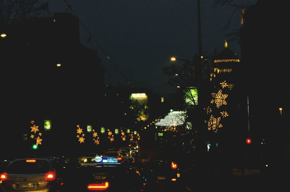 Christmasy vibes Transportation Illuminated Night No People City Architecture Sky Outdoors Christmas Lights Christmasdecoration Nikon D5100  Nikonphotographer Nikonphotograhy Bussy Trafic Belgradestreets Belgradephoto Belgrade Serbia Belgradenight