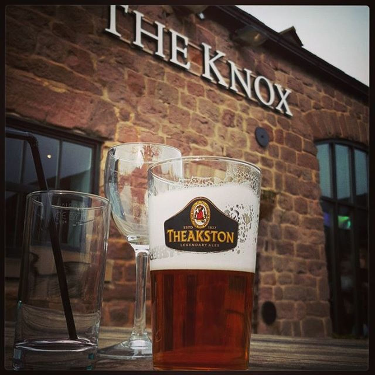 Sunday afternoon drink. Pub Glass Wine Ale Theakstons Straw TheKnox Harrogate