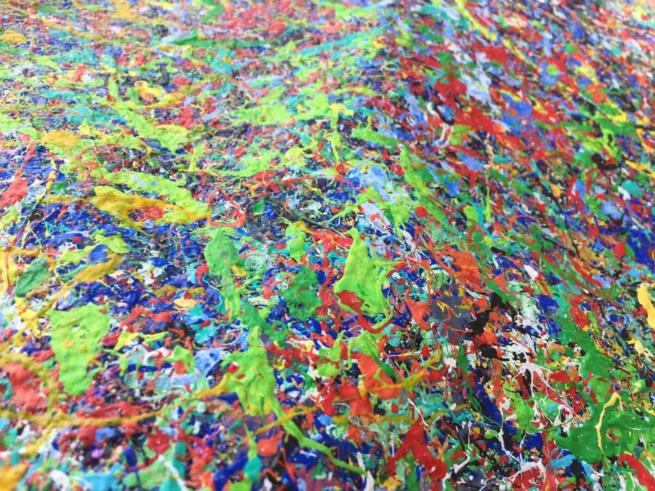 Multi Colored Close-up Abstract Art Acrylic Painting