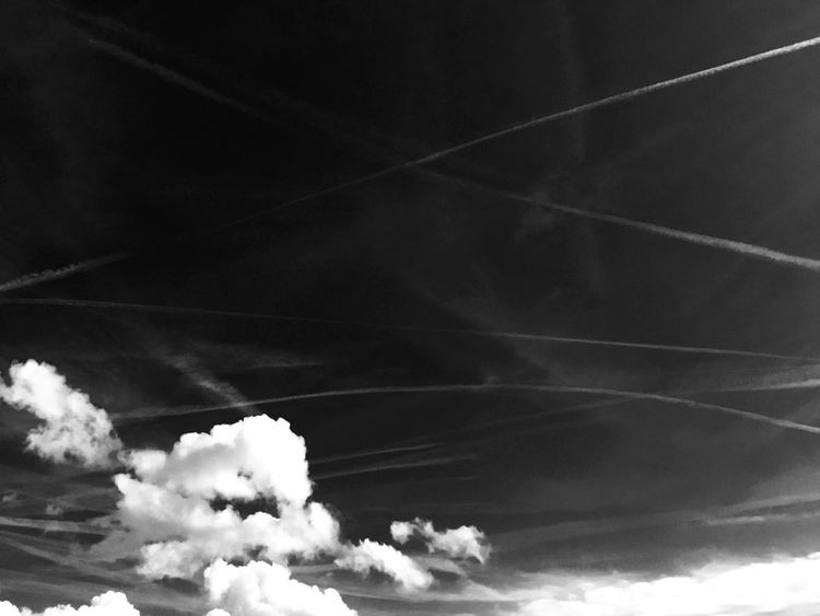 Clouds And Sky Afrernoon Cumulonimbus Chemtrails Airplane Light