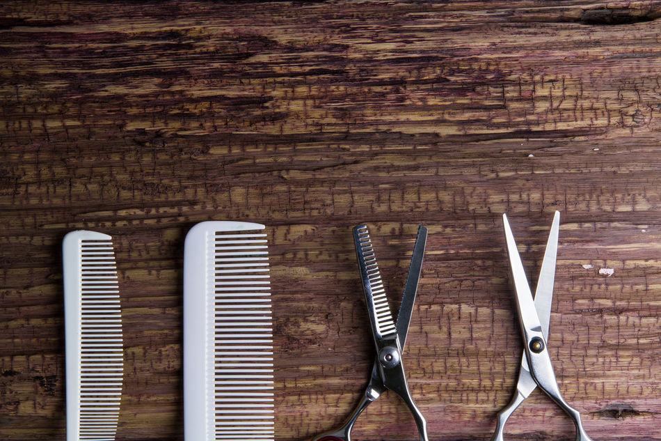 Stylish Professional Barber and salon, Hair scissors, Haircut accessories on wood background with copy space Accessory Appliance Background Barber Beauty Comb Cut Cute Equipment Fashion Hair Haircut Hairdresser Hairdressing Hairstyle Hairstyles Modern Object Professional Salon Scissors Sharp Shaver Tool Wooden