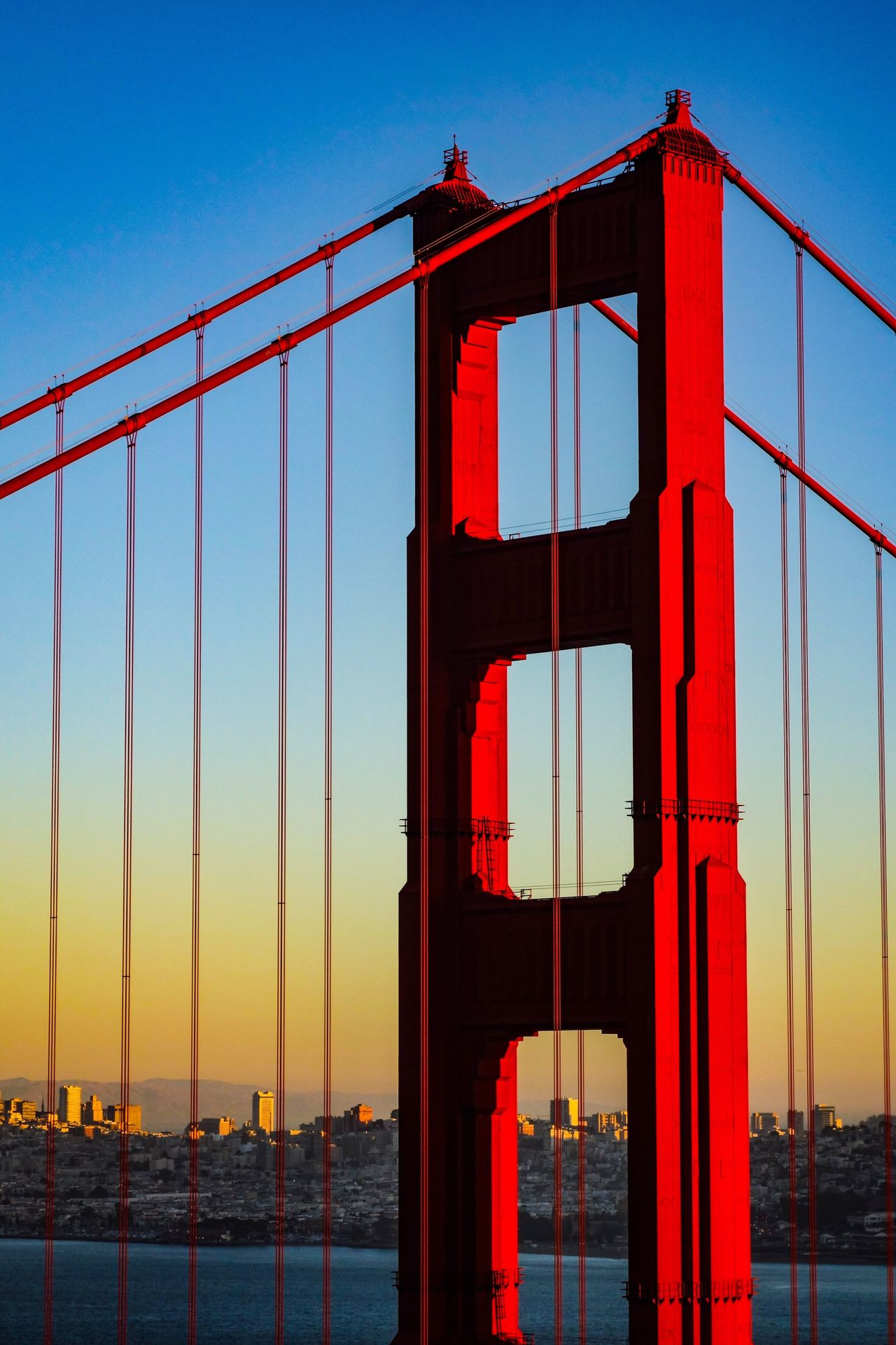 Bridge - Man Made Structure Suspension Bridge Red Orange Color Architecture Engineering Sea City Bay Area Golden Gate Bridge California San Francisco EyeEm Best Shots EyeEmNewHere Girder Evening Light Travel Travel Destinations Cityscape Bridge Urban Skyline Water Scenics Built Structure Connection The Great Outdoors - 2017 EyeEm Awards