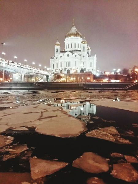 City Illuminated Architecture Travel Destinations Night Built Structure Water Sky Dome Cathedral Cultures River Moscow Moscownight Москва Winter Winterinthecity Neighborhood Map Shades Of Winter