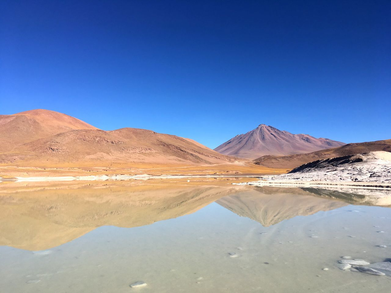 tranquil scene, nature, tranquility, scenics, arid climate, beauty in nature, blue, copy space, outdoors, desert, clear sky, no people, day, reflection, mountain, landscape, physical geography, water, salt - mineral, salt flat, salt basin, sky