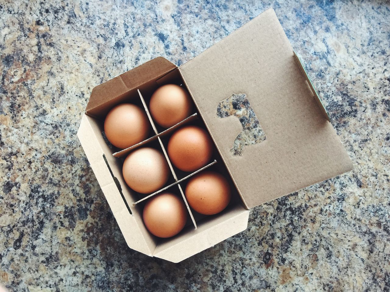 a box of six eggs on the table Box Box - Container Carton Box Directly Above Egg Egg Carton Eggshell Farm Food Food And Drink Fragility Freshness No People Six