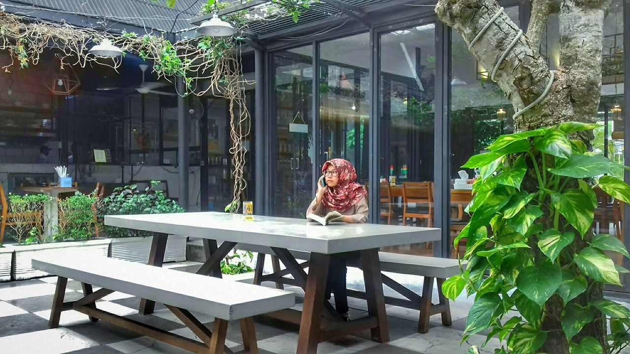 Letitflow Only Women Women Indoors  Lifestyles Sitting Greenhouse Young Women Architecture Nature Outdoors Palm Tree Nature Photography Yogyakarta Fine Art Photography Freshness EyeEm Gallery Shining Bright Silent Landscape Building Exterior Lighting Equipment Cold Temperature Girls