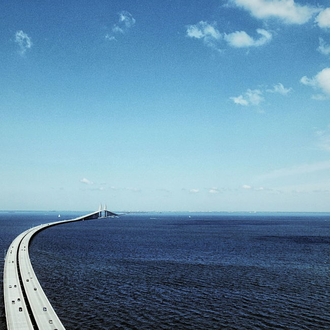 Aerial Aerial Photography Aerial Shot Aerial View Bridge Clouds Horizon Over Water No People Ocean Road Roadtrip Scenics Sea Seascape Sky Sunny Tranquil Scene Tranquility Travel Travel Photography Traveling Water