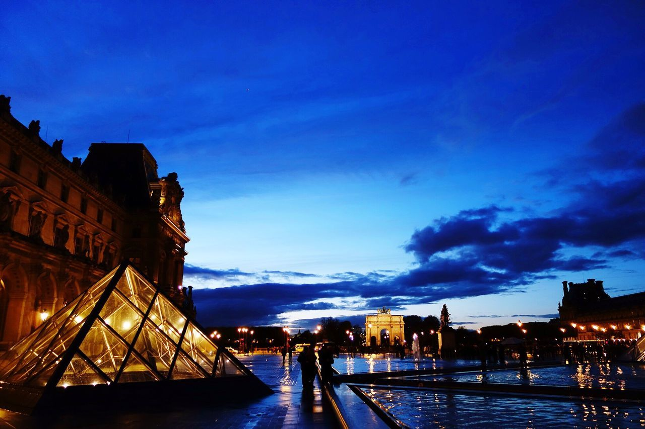Louvre at night. Architecture Building Exterior Built Structure Sky Dusk Blue Illuminated City No People Cloud - Sky Outdoors Sunset Night Cityscape Louvre