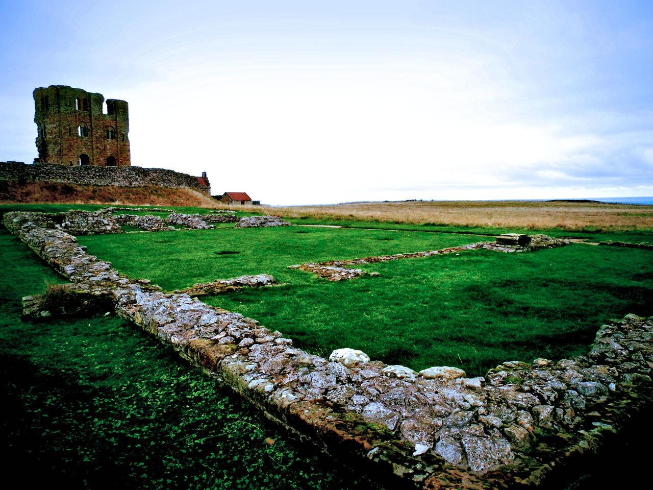 Castle On Grassy Field Against Sky