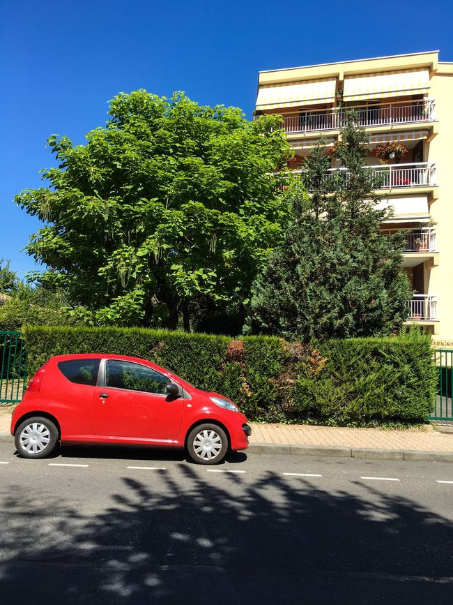 Architecture Blue Building Exterior Built Structure Car Clear Sky Day Green Color Growth Land Vehicle Mode Of Transport Old-fashioned Outdoors Parked Red Color Road Shadow Stationary Street Sunlight Sunny Transportation Tree