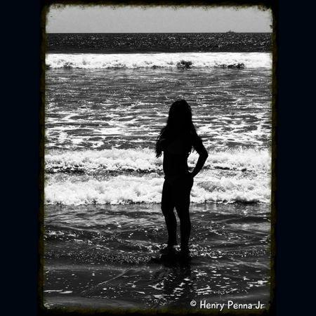 San Diego, California Panasonic Lumix Panasonic  B&w Island Girl On The Beach San Diego Ca San Diego B&w Photography Filipina Silhouette