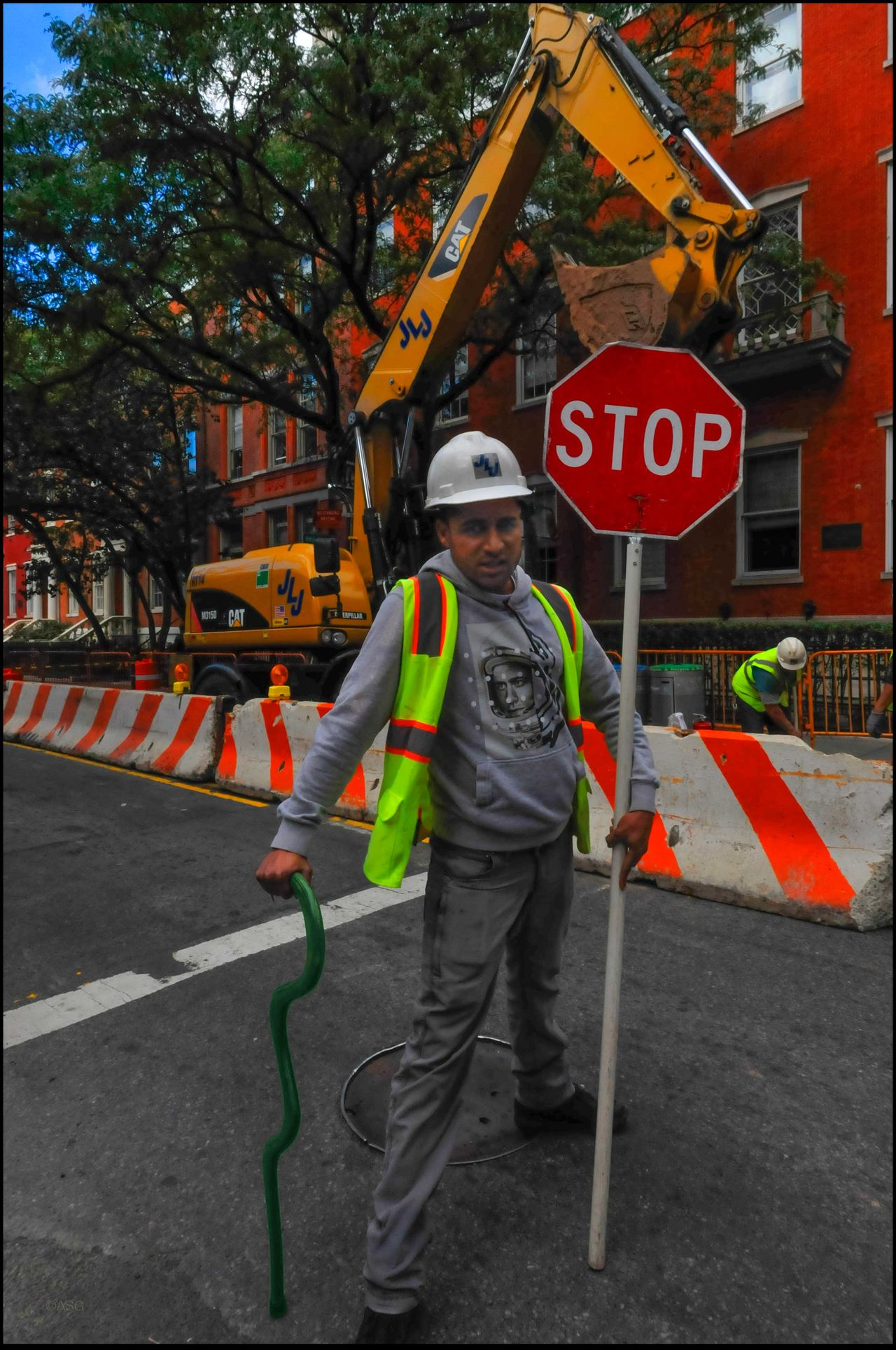 Blue does Double Duty - 10/12/16 As I Sees It EyeEm StreetPhotography, NYC Fresh On Market October 2016 My Staff, Blue, W/ Construction Worker The Journey Is The Destination