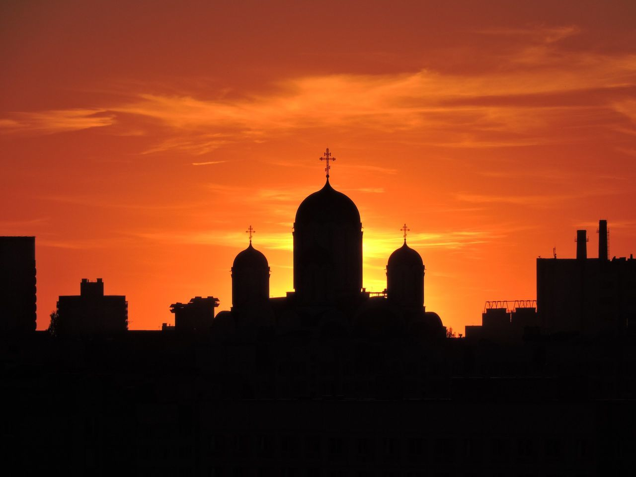 sunset, architecture, silhouette, building exterior, built structure, skyscraper, city, orange color, cityscape, sky, no people, modern, outdoors