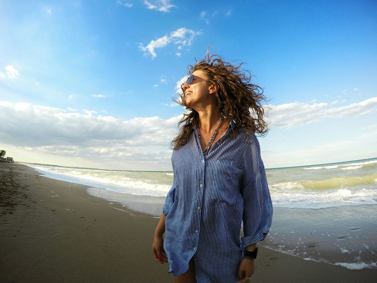 Beautiful stock photos of mädchen, beach, sky, one person, one woman only