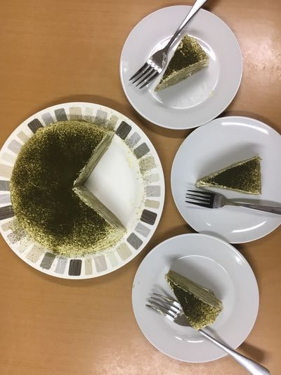 Matcha mille crepe 💚 Plate Table Food And Drink Indoors  Bowl Matcha Mille Crepe Drink Fork Freshness Food No People Healthy Eating Close-up Ready-to-eat Day