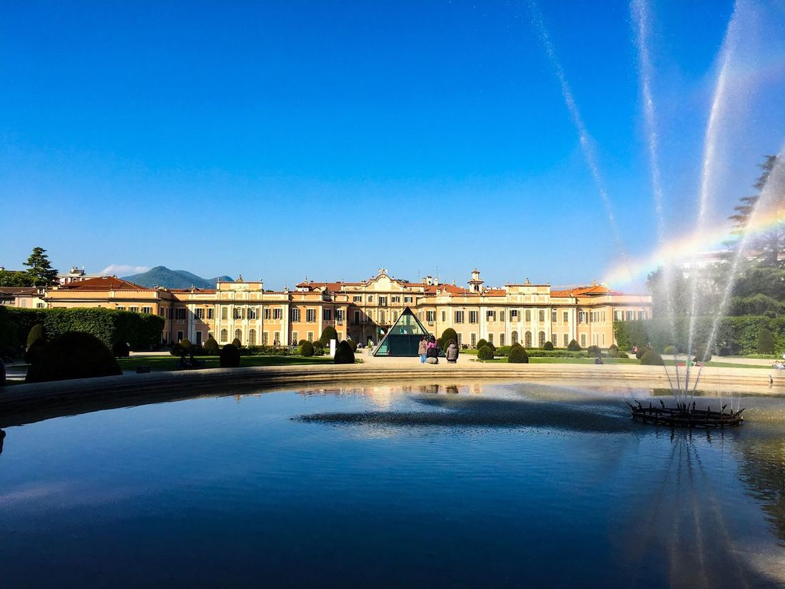 Architecture Built Structure Water Building Exterior Fountain Blue History Outdoors Palace Sky Travel Destinations Real People Spraying Day Clear Sky Varese Varesetheplacetobe City Fountain Rainbow