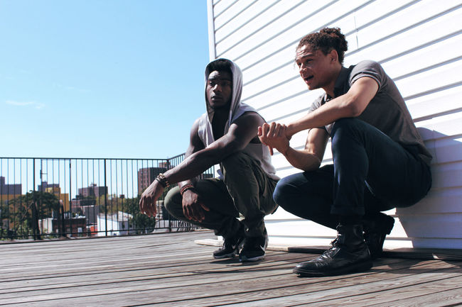 NYC Rooftop Brooklyn Brownsville Men Mensfashion Photoshoot Clear Sky Sunny