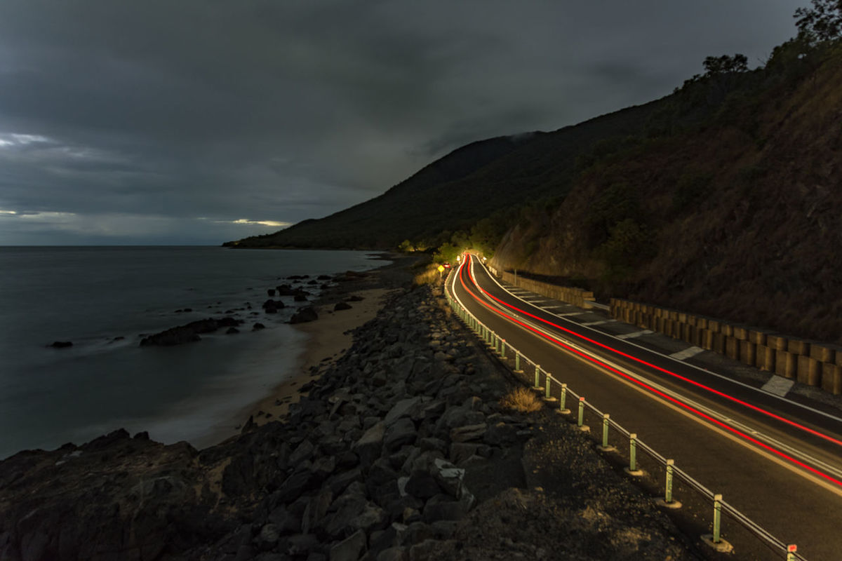 Coastal Bliss Beauty In Nature Cloud - Sky Exploring Fast Car Light Trail Long Exposure Motion Mountain Nature Nature Night Outdoors Road Road Roadtrip Scenics Sea Sky Speed The Great Outdoors - 2017 EyeEm Awards Tourism Tourist Transportation Travel Traveling