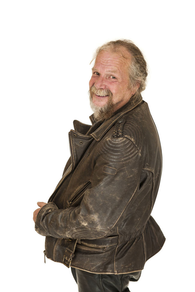 Upper body portrait of an older man in leather jacket isolated on white Carefree Casual Clothing Man Mature Adult Mature Men Person Senior Year Side View Studio Shot White Background White Backround Young Adult