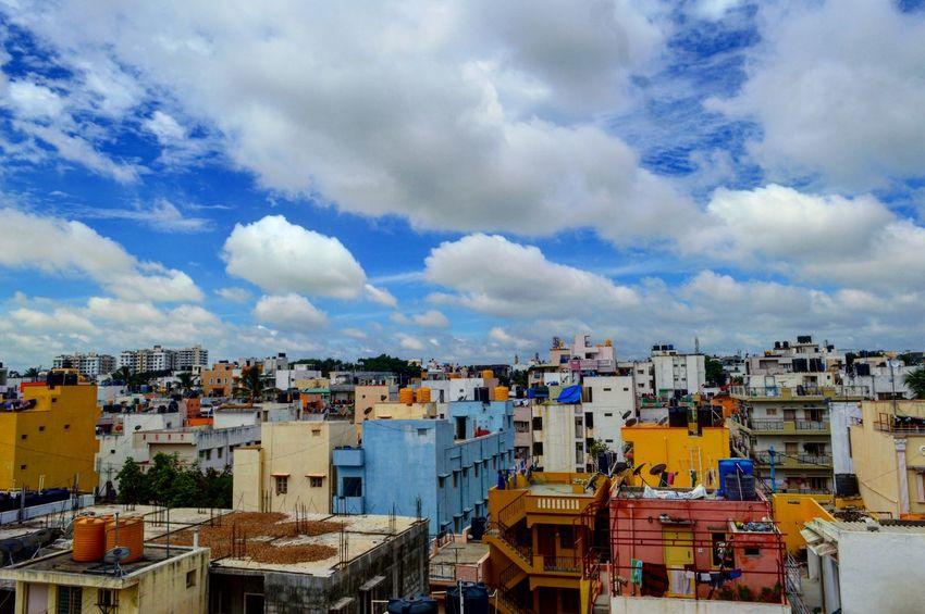 Kormangala, Bengaluru Bengaluru India Kormangala Houses Terrace Blue Sky Sky Sky And Clouds Clouds Clouds And Sky Cloudscape