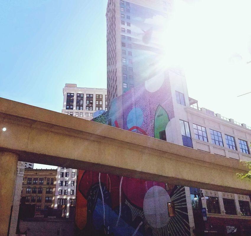 CBMetro313Pics Mural Downtown Detroit People Mover Sun Bright Sun Rail Skyscraper Whale Tall Buildings Lookingup Hidden Gems  The Architect - 2017 EyeEm Awards