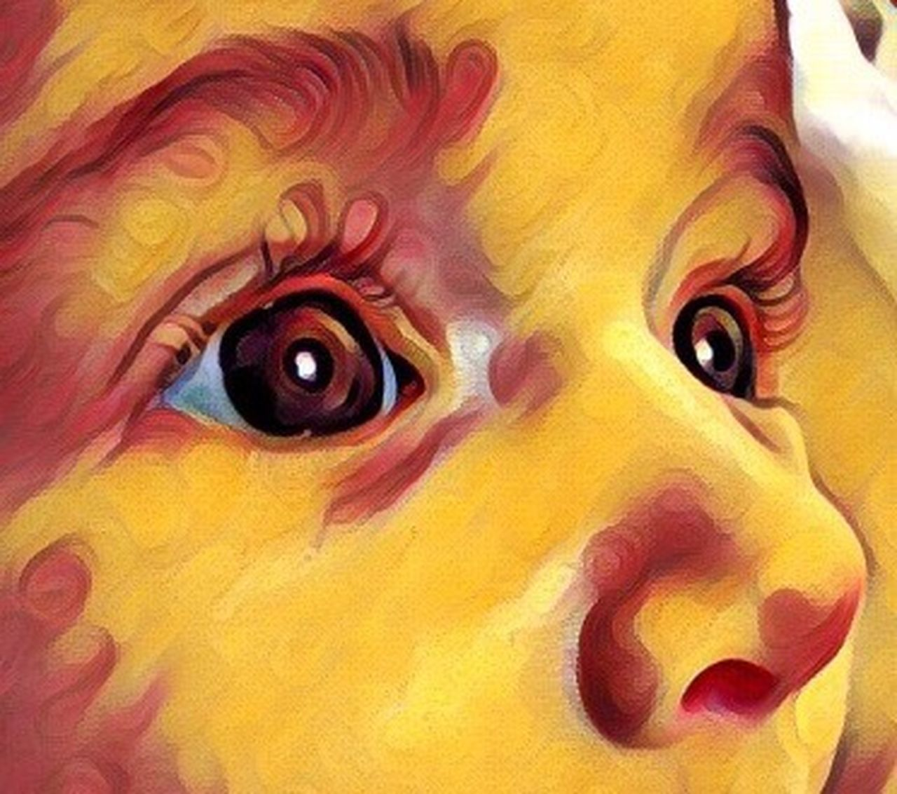 Babygirl Baby Eyes Multi Colored Yellow Close-up Human Eye Eyelash Watercolor Painting ArtWork Macro Painted Image Eyebrow People Bebe Ojos Bonitos  Arte Colors Colorful Portrait Cejas Bodyart Body Part Bodypaint