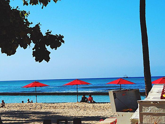 Sea Beach Water Clear Sky Blue Horizon Over Water Nature Beauty In Nature Scenics Sand Sky Shore Outdoors Vacations Memory Of Travel Hawaii Waikiki Beach Waikiki Honolulu  Olympus Om-d E-m10 Beach Umbrella Travel Travelers
