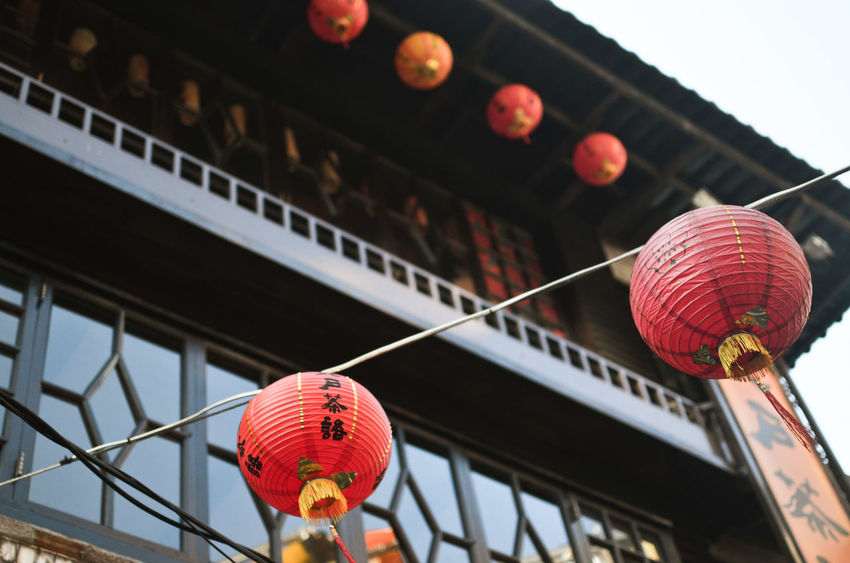 Architecture Building Exterior Built Structure Celebration Chinese Lantern Chinese Lantern Festival Cultures Day Decoration Hanging In A Row Lantern Low Angle View Outdoors Paper Lantern Red Traditional Festival Eyemphotography Object Photography Taiwan