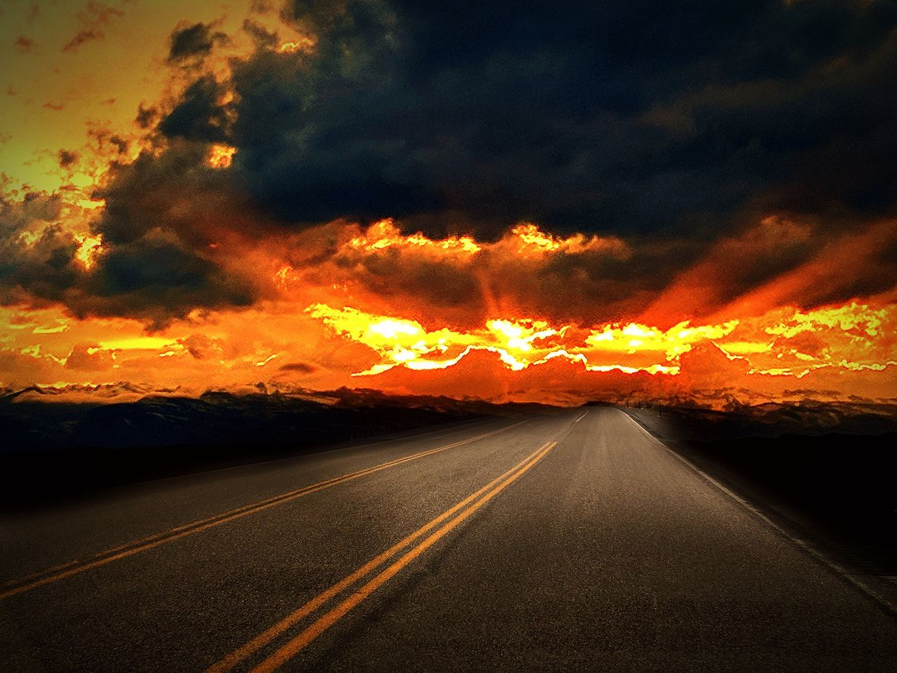 Sunset Road Landscape Outdoors Nature The Way Forward Scenics Rural Scene Beauty In Nature No People Night Cloud - Sky Horizon Transportation Sky Panoramic First Eyeem Photo