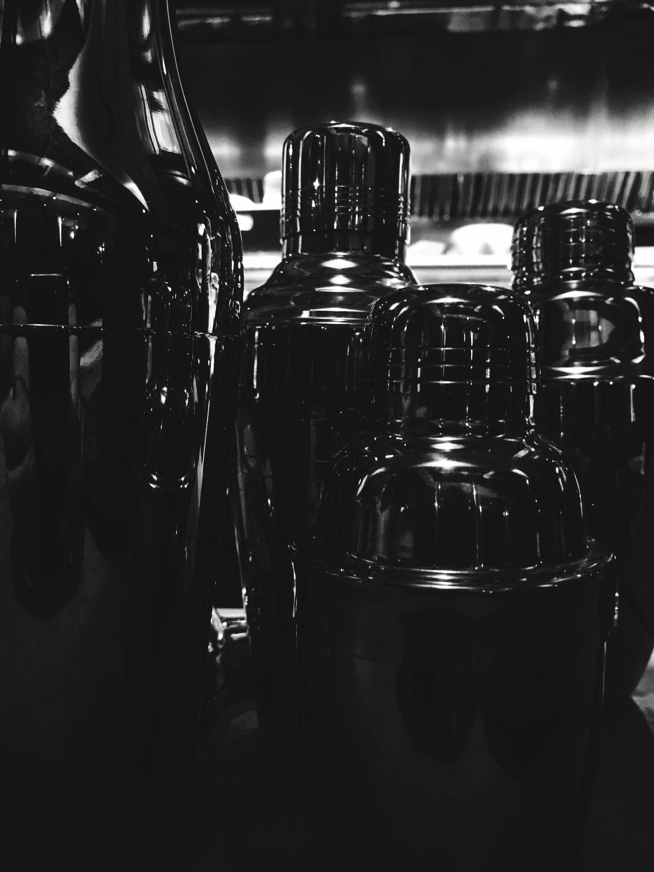 No People Bottle Drink Bar Monochrome Monochrome Photography Black & White Blackandwhite Shaker Shakers Dark Black Backgrounds Shiny Metal Metallic