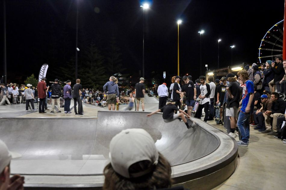 Skateboarder in the bowl at night showcase event at the Youth Esplanade Plaza in Fremantle, Western Australia. Adrenaline Arts Culture And Entertainment Balance Bowl Concrete Event Extreme Sports Fremantle  Full Length Large Group Of People Night Night Lights Nightlife People Rails Skateboard Skateboarding Skatepark Skill  Sport Western Australia Young Adults Youth Youth Culture Youth Esplanade