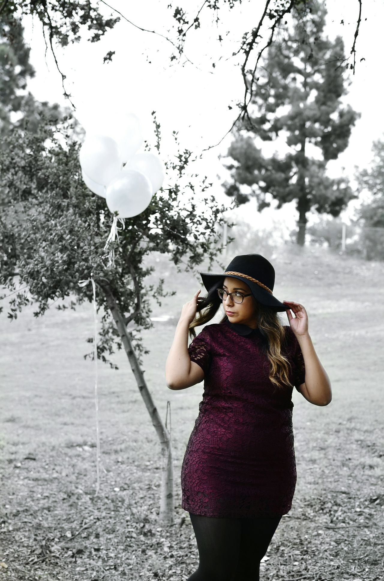 Outdoors Balloons Dress Hat Sun Bonnets Big Hat Color Splash Black And White Nature Trees Grass