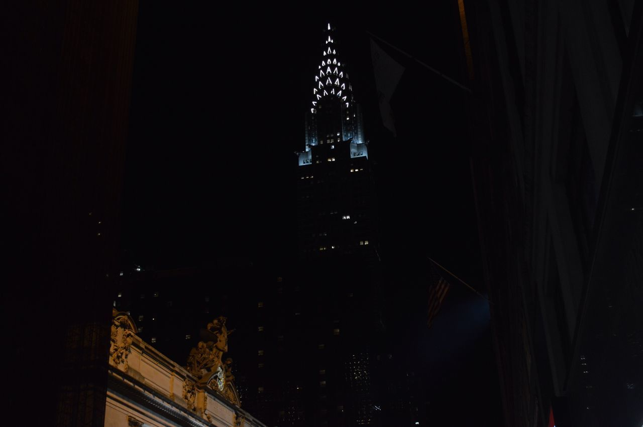 Low Angle View Of Chrysler Building At Night