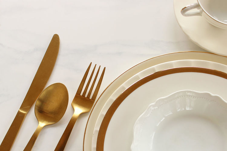 Dinner party Background Celebration Chic Concept Cutlery Dinner Party Dishes Elegant Empty Places Enjoying Life Event Festive Flat Food And Drink Menu Open Space Party Reception Restaurant Silverware  Table Setting Table Top Top View Wedding White And Gold