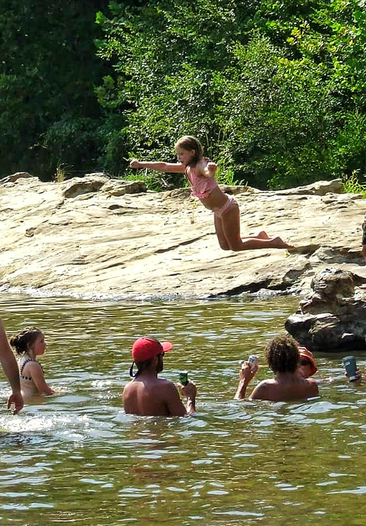 Girl Girl Jumping Kids Playing Swimming People Swimming People Watching Rocky Shoreline Sand Bar Motion Shot Motion Photography Frozen In Time Caught In Midair Water Activities Water Fun Water Kids Playing In The Water Street Photography Creek Bank Creek Kids Mississippi  Showcase July People And Places Enjoy The New Normal