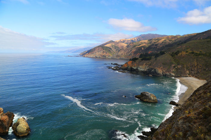 Beauty In Nature Big Sur Blue California Cloud Cloud - Sky Coastline Day Idyllic Mountain Mountain Range Nature Non-urban Scene Rock Rock - Object Rock Formation Scenics Sea Sky Tranquil Scene Tranquility Water