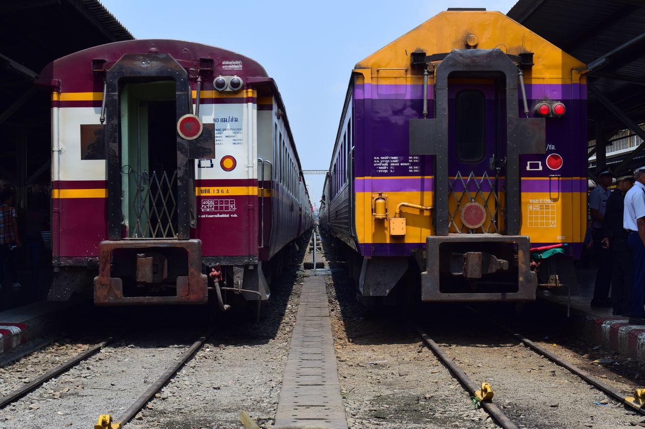 transportation, railroad track, rail transportation, mode of transport, train - vehicle, public transportation, outdoors, day, stationary, no people, land vehicle, sky