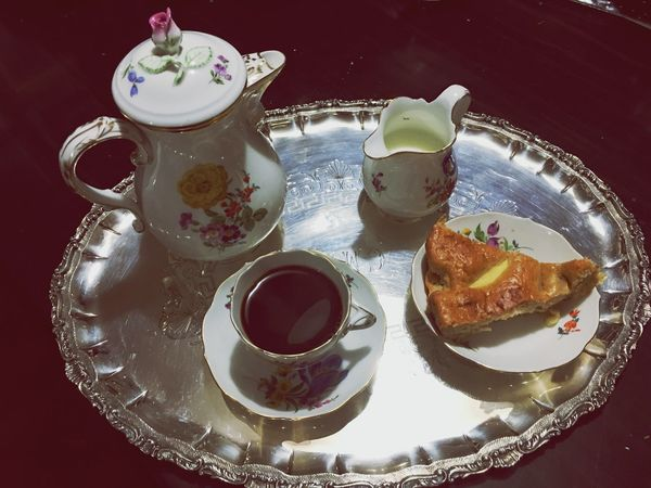 Breakfast Tea - Hot Drink Teapot Tea Cup Food And Drink Saucer Table Food Refreshment Plate High Angle View Indoors  meissen meißen Ready-to-eat Freshness Serving Size Drink Close-up No People Sugar Cube Day