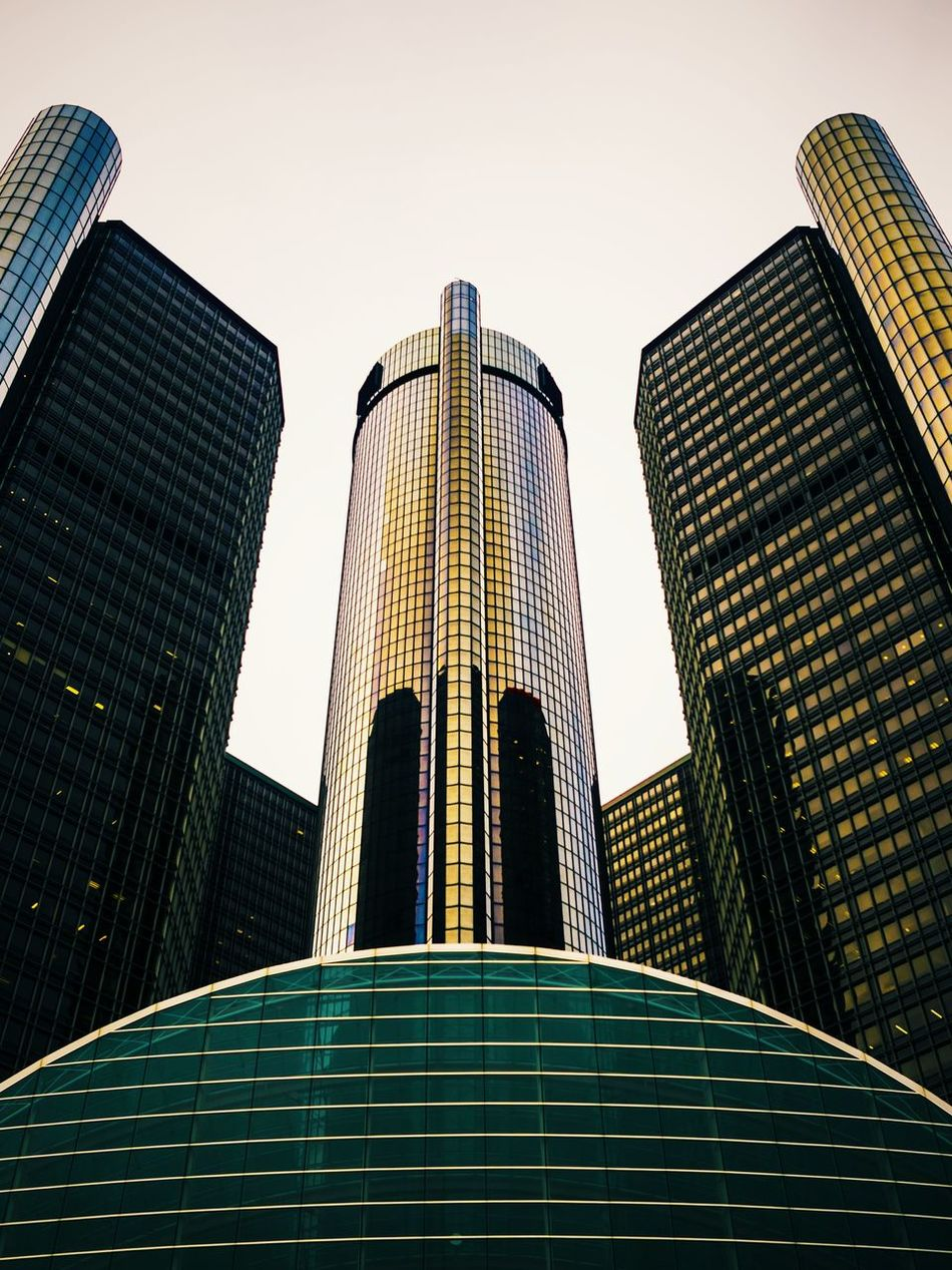 Architecture Building Exterior Built Structure Business Finance And Industry City Day Detroit Futuristic Low Angle View Michigan Modern No People Office Office Building Exterior Outdoors Reflection Sky Skyscraper Tower Urban Skyline