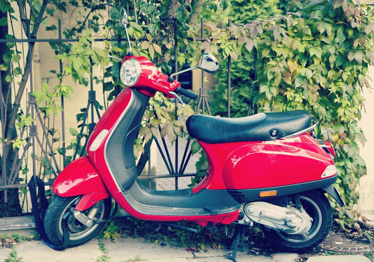 Red Outdoors Day Vespa Motorbike Scooter Street Transportation Urban City Life Italy