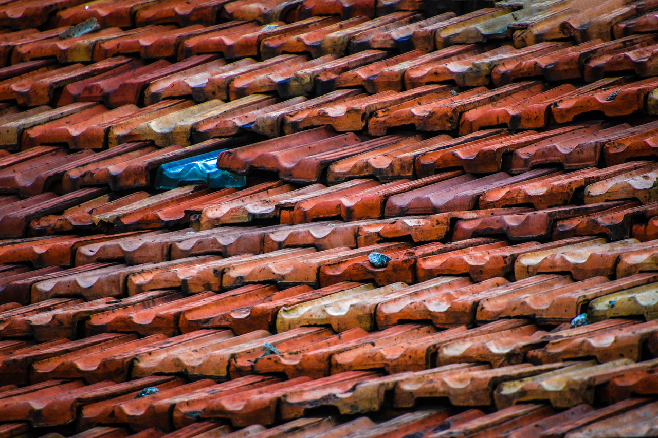 Architecture Backgrounds Colours Day EyeEm Gallery Full Frame In A Row Large Group Of Objects No People Outdoors Pattern Red Roof Roof Tile Rooftop Shingle Shingles Tiled Roof