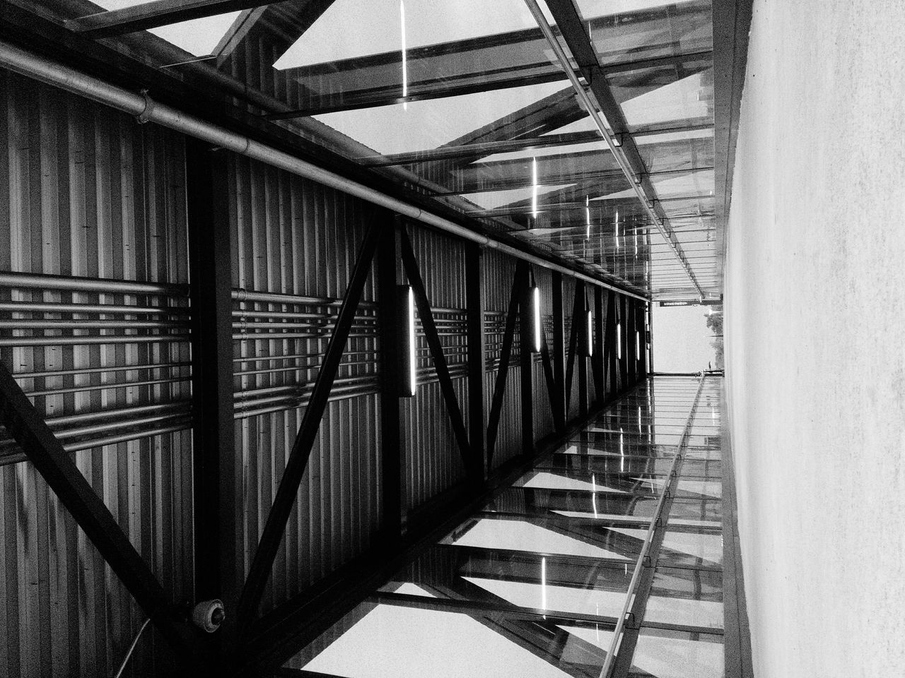 Rule Of Thirds Bridge - Man Made Structure Architecture Inside Things Black And White Photography Monotone Sepia_collection Monochrome _ Collection Geometry Everywhere Geometric Shapes Metal Zigzag